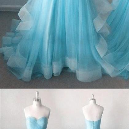 Strapless party dress, ice blue pro..