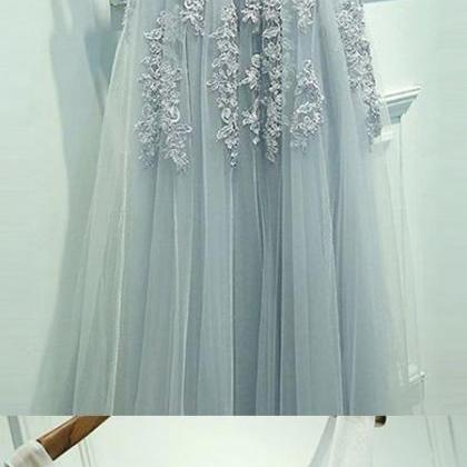 A-Line Scoop Floor-length Light Blu..