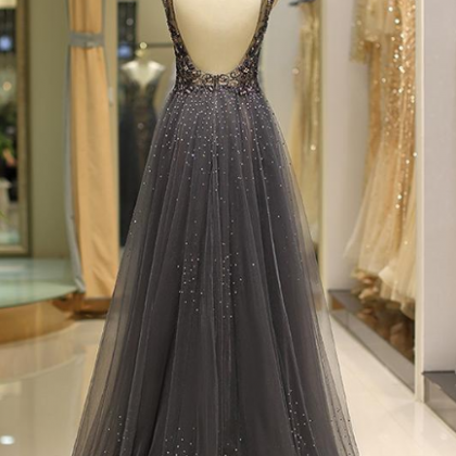 Modest Tulle V-neck Neckline Floor-..