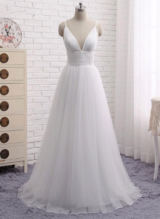 dbf4d85b78483 Simple white, v neck long prom dress, white evening dress,Floor-Length Prom  Dresses ,Evening Gowns