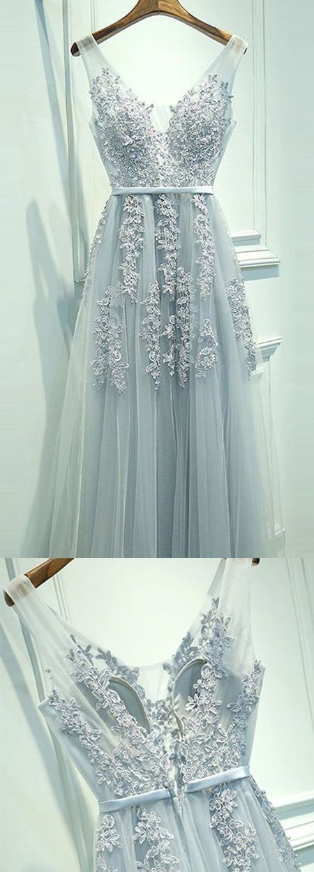 A-Line Scoop Floor-length Light Blue Tulle Prom Dress with Appliques