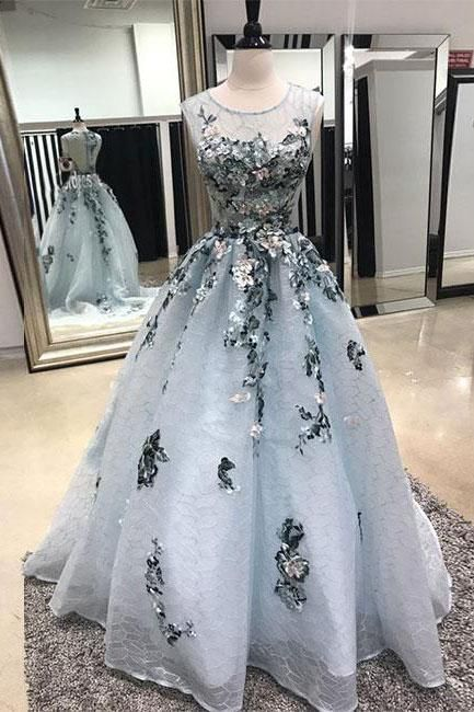 Gray tulle lace , lace applique evening dress,Tulle Prom Dresses,Long Prom Dresses,Cheap Prom Dresses,Lace Evening Dress ,Sleeveless Prom Gowns