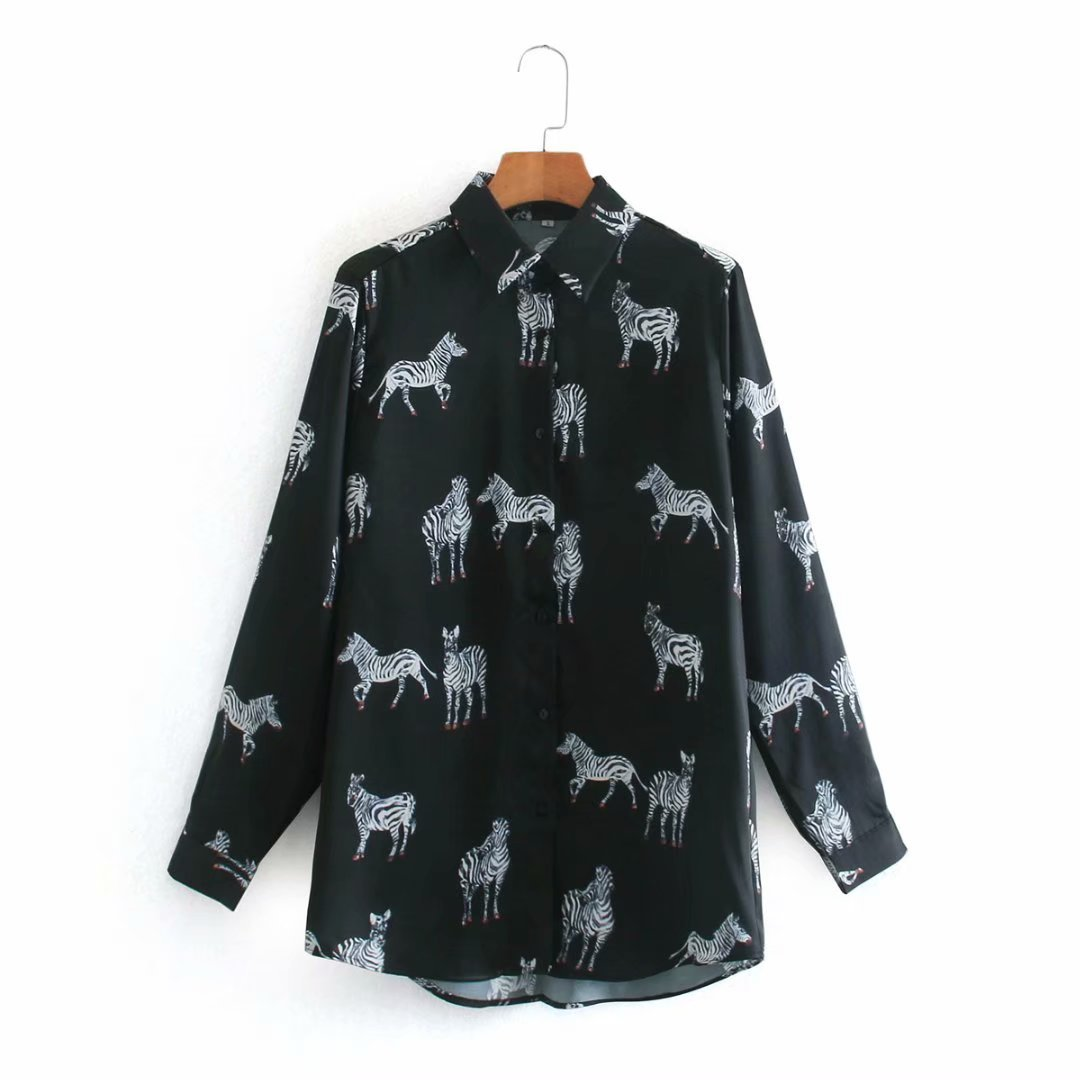 Autumn animal printed silk satin textured blouse