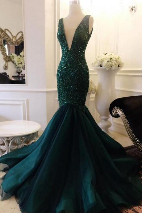 Plunging Neck Mermaid Atrovirens Prom Dress with Sequin Appliques Lace V Back Evening Dress