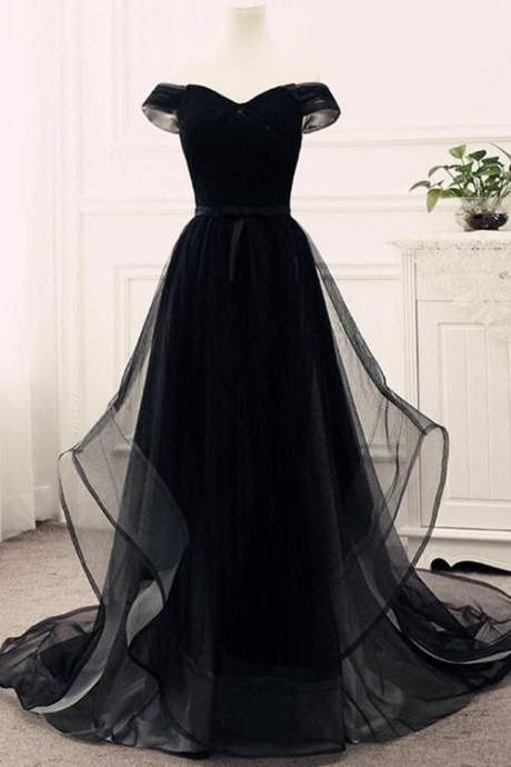 Black party dress Off Shoulder Junior Prom Dress , Tulle Party Gowns, Evening Dresses