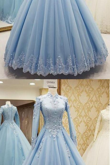 Blue tulle party dress, high neck formal evening dress, with long sleeves