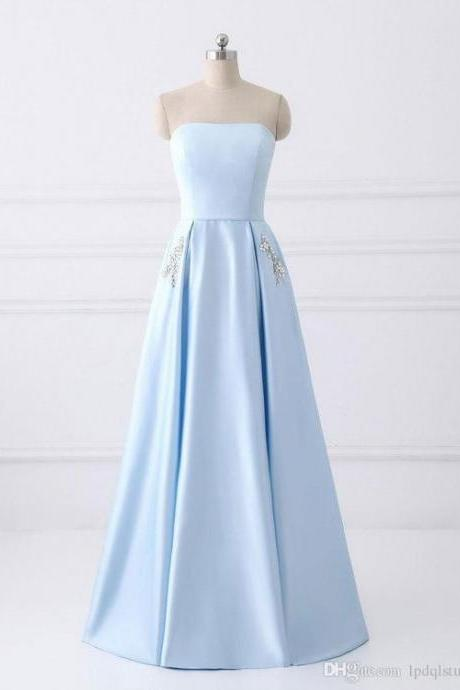 Light Sky Blue, Prom Dress, Strapless ,Lace-up, Back ,Satin with Crystal Beads ,Floor Length Long Evening Dresses ,Sexy Evening Dress,Ball Gowns