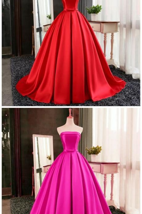 New Arrival Prom Dress,Modest Prom Dress,red satin ball gowns, prom evening dresses , strapless, formal dress,A-line ,Evening Dress Evening Dress,Ball Gowns
