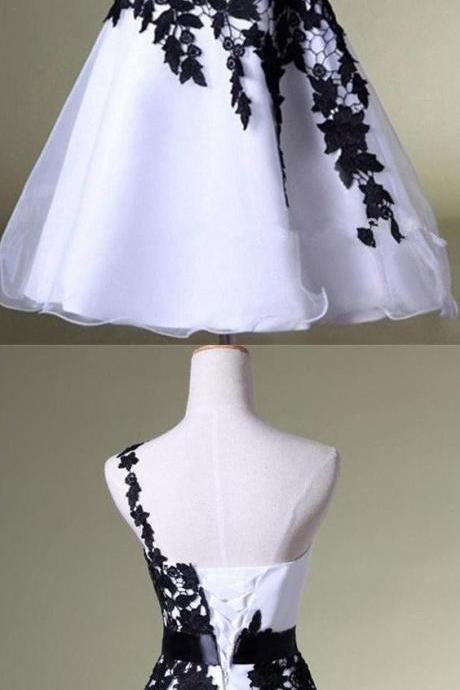 White&Black, One Shoulder ,Homecoming Dress, Lace, Short Prom Dress ,Puffy Skirt ,Party Dress, Prom Dress ,2018 prom dress,evening dress