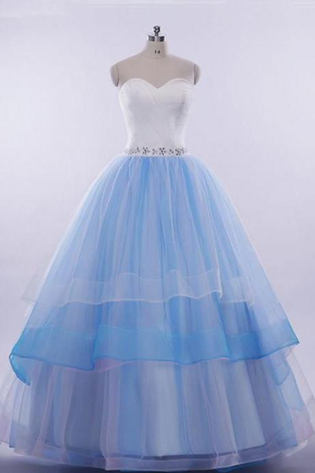Royal blue ,tulle ,sweetheart ,neck ,long, A-line, prom dress, sequins evening dress,sexy prom dresses