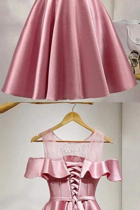 Short ,A-line/Princess ,Party Dresses, Pink ,Sleeveless, With Bow knot ,Knee-length ,Homecoming Dresses,Prom Dresses