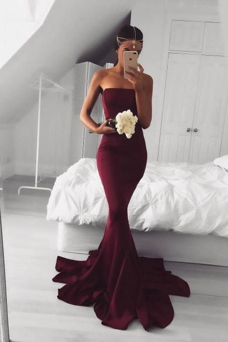 Sexy, Strapless ,Burgundy, Mermaid ,Long, Prom Dress, Formal Evening Dress,Prom Dresses
