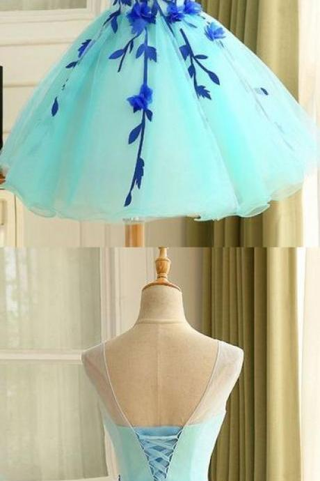 Light Blue Party Dresses, Short Homecoming Dresses, Ball Gown Tulle Homecoming Dress Beautiful A Line Flower Short evening Dress