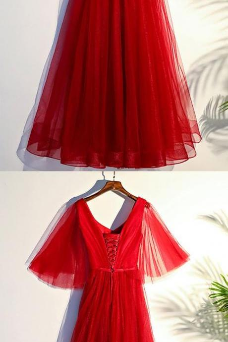 Flowy ,Red Butterfly, Sleeves, Long, Formal Party Dress, Formal Women Dress,Prom Dress ,Party Dresses