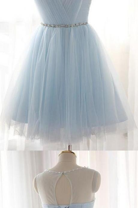 Cheap, Short, Prom Homecoming Dress ,Modern, Light Blue, Party Dresses, With Round Lace Up, Bandage Dresses ,Prom Dress ,Party Dresses