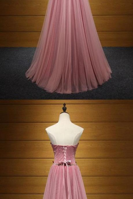 Princess Long Pink, Prom Dress, Strapless With Beading Flowers ,Long Prom Dresses , Evening Gowns