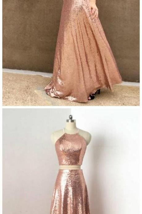 TWO PIECES, PROM DRESSES, PINK SEQUINS ,SPAGHETTI STRAPS, LONG PROM DRESS/EVENING DRESS ,Floor length ,Evening Gowns
