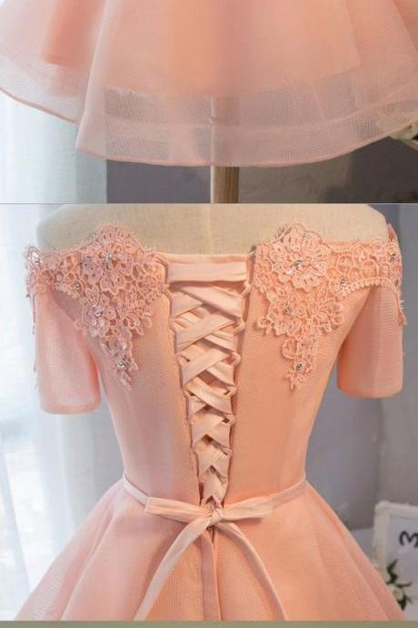 Customized Enticing Pink ,Short Party, Homecoming Dress ,With Lace Up, Bandage, Mini Dresses ,Applique