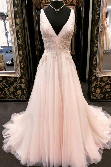 UNIQUE, V NECK ,TULLE LACE ,APPLIQUE ,LONG PROM DRESS, PINK EVENING DRESS, Evening Dresses ,Evening Dress,Evening Gowns