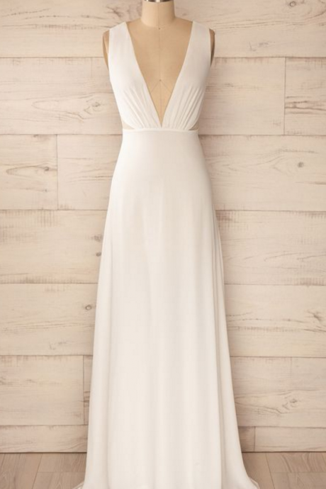 Plunging V Neck Sleeveless Chiffon A-line Floor-Length Wedding Dress, Prom Dress, Evening Dress