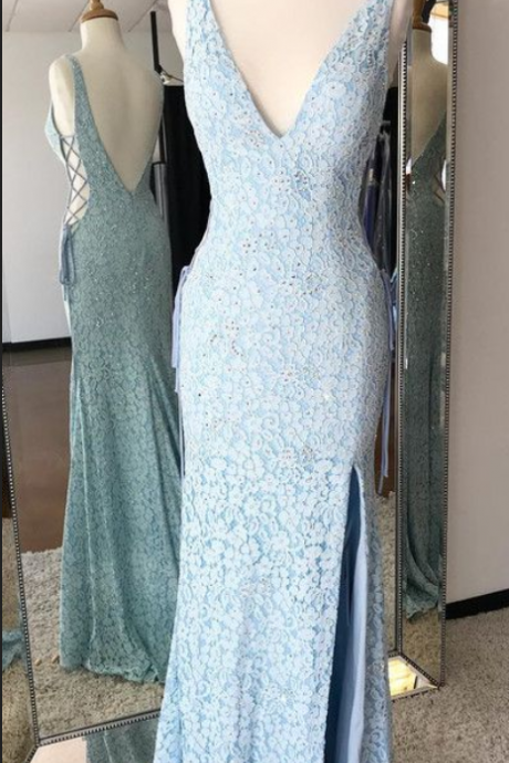 Mermaid V-Neck Backless ,Sweep Train, Blue Lace Prom Dress,Sexy Party Dress, New Evening Dress, New Style Evening Dresses
