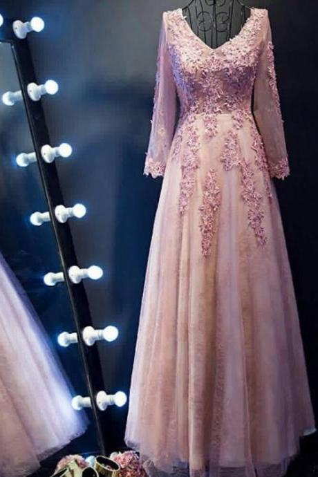 Pink Evening Dresses, Long Evening Dresses, Long Pink Evening Dresses With Applique ,Floor-length V-Neck ,Sale Online,Floor Length Evening Dress,Sexy Prom Dress,Lace Applique Evening Dress