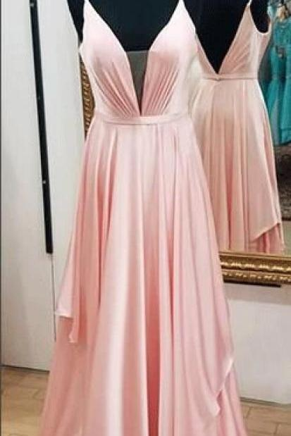 simple A-line pink satin , long prom dresses, elegant straps, v neck pink long prom dress ,Sexy Formal Evening Dress,Custom Made