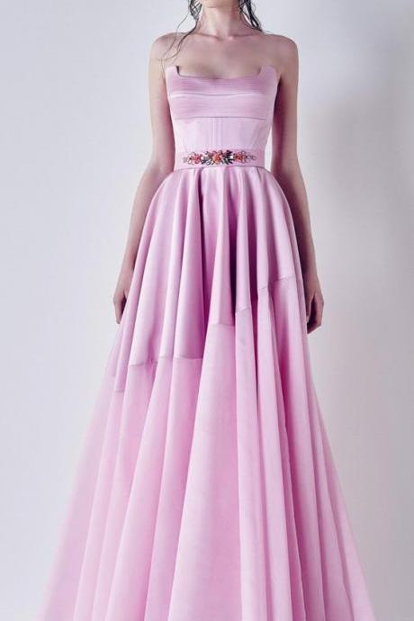 Pink Ball Gown Appliqued ,A Line Long Prom Dress,Pretty Floor Length ,Beautiful Dresses,flower applique ,Sexy Formal Evening Dress,Custom Made