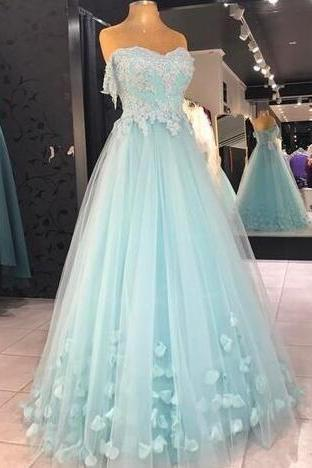 Sexy Tulle Prom Dresses, Baby Blue Prom Dress,Cheap Prom Dress,Appliques Prom Dress, Long Evening Dress ,Sexy Formal Evening Dress,Custom Made