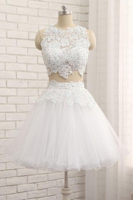 White tulle short two pieces homecoming dress, lace prom dress ,Sexy Formal Evening Dress,Custom Made