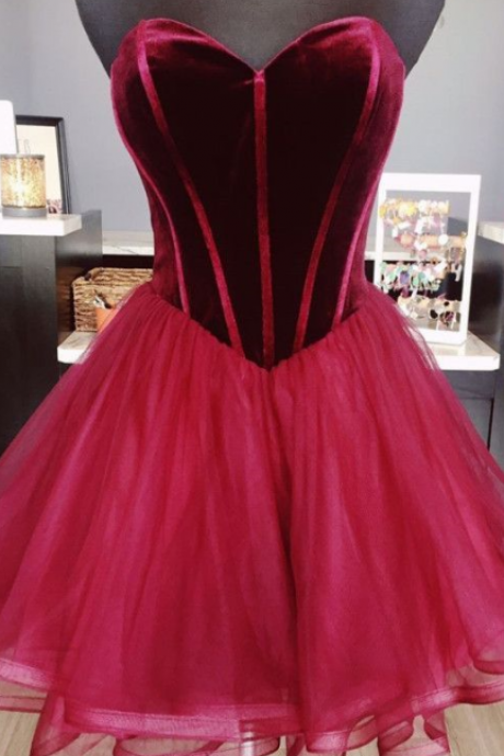 Velvet Homecoming Dresses,Short Ruffle Prom Dress,Burgundy Homecoming Dress,Cute Graduation Dresses