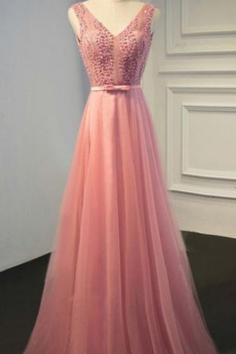 Simple Pink Prom Dress V neck Party Dress, A-Line Tulle Evening Dress