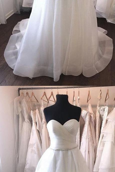 Pleated Sweetheart Crystal Beaded Sashes Organza Wedding Dresses Ball Gowns