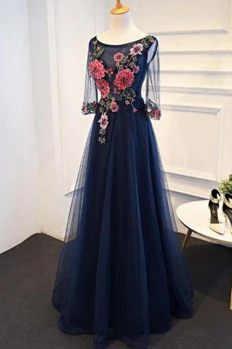 Navy Prom Dresses, A-Line Prom Dresses, Long Prom Dresses, Blue Prom Dresses ,Custom Made,Party Gown,Cheap Prom dress