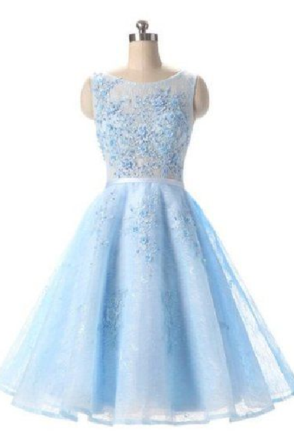 Charming Prom Dress,Elegant Prom Dress,Light Blue Tulle Prom Dress,Short Homecoming Dress,Prom Gown