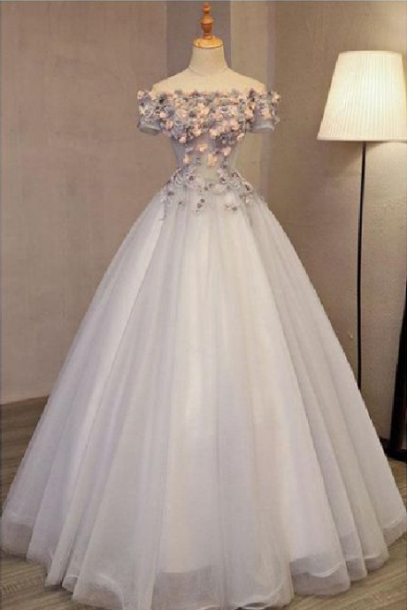 A-line Off-the-shoulder Tulle Applique Chic Long Prom Dress Evening Dress