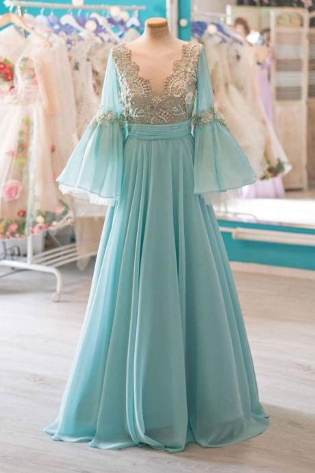 UNIQUE V NECK CHIFFON LACE LONG PROM DRESS, HALF SLEEVE EVENING DRESS
