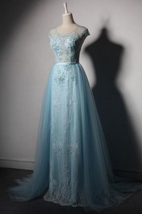 Sky Blue Long Prom Dresses Detachable Skirt Crystal Formal Evening Party Dresses for Graduation Dresses