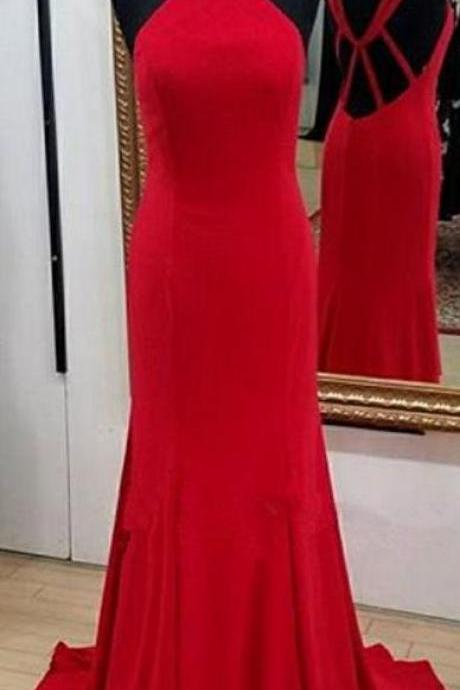Simple Red Long Prom Dress, Wedding Party Dress ,Formal Dress