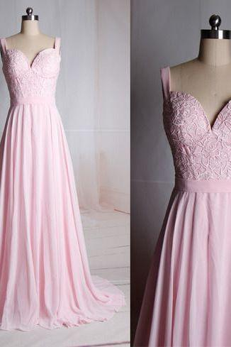 V-neck Pink Lace Bridesmaid Dress,Lace Bridesmaid Dresses,Lace Prom Dress