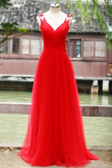 Pretty Red Tulle Long Sweetheart Open Back Prom Gowns,Red Formal Gowns, Evening Gowns, Formal Gowns