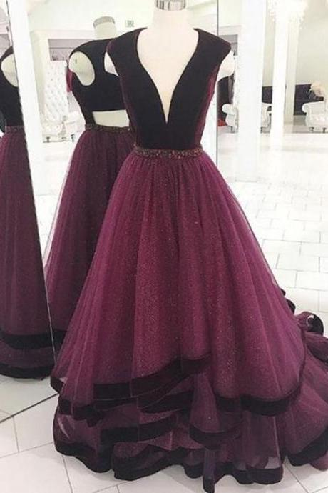 A-LINE DEEP V-NECK FLOOR LENGTH BURGUNDY TULLE PROM/EVENING DRESS WITH BEADING
