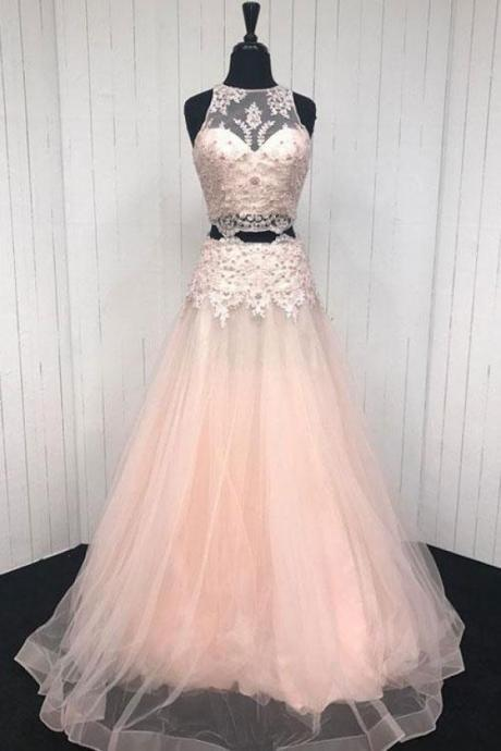 TWO PIECES PROM DRESSES, PROM DRESSES LACE, LONG PROM DRESSES, PINK PROM DRESSES