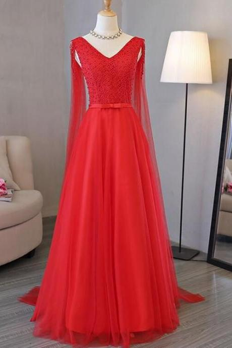 Attractive Tulle prom gowns,V-neck Neckline party dress, A-line Prom Dress With Beadings,Red Formal Gowns, Red Party Dresses, Prom Dress
