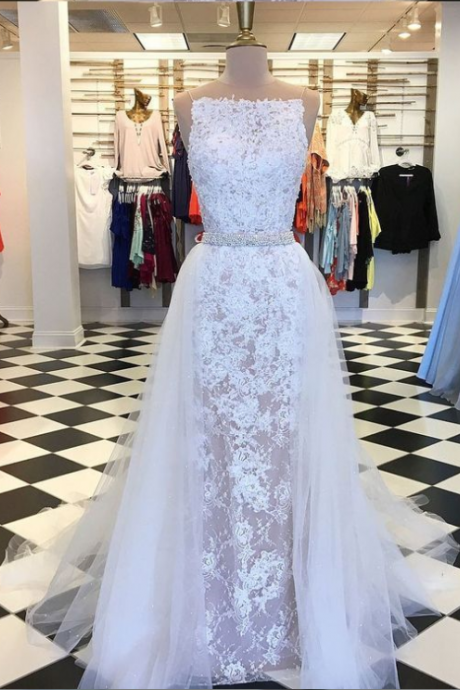 A-Line illusion Prom Gowns , Round Neck Detachable Train evening dress, White Lace Prom Dress with Beading