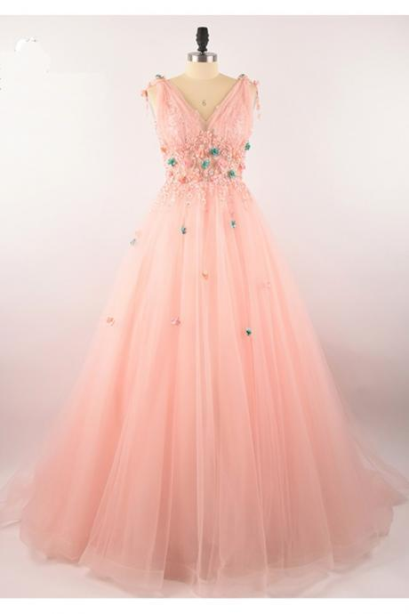 pink tulle long prom dress,v nekc evening gowns ,floor length evening dress, flower applique party gowns
