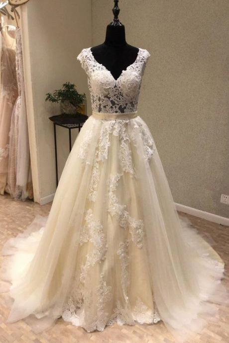 WHITE V NECK TULLE LACE LONG PROM DRESS, WHITE TULLE WEDDING DRESS,BRIDAL DRESS
