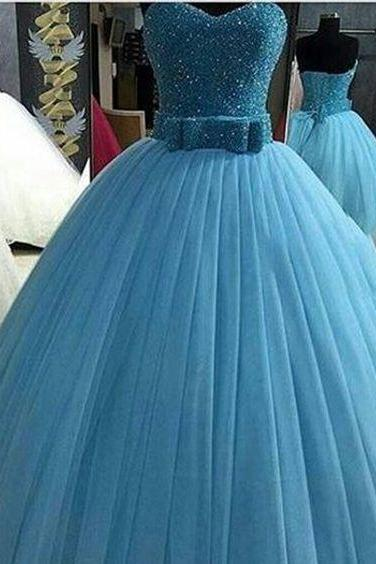 Beading Bridal Ball Gown,Sweetheart Prom Dress with Bow blue party dress