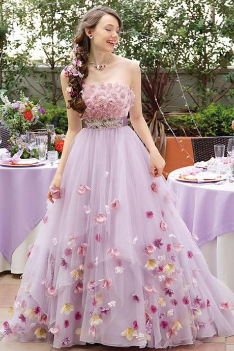 Attractive Tulle Strapless Neckline A-line Quinceanera Dress With Handmade Flowers & Belt