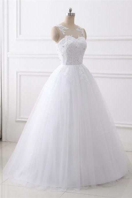 A-line wedding dress ,scoop neck wedding dress , Luxury beading sleeveless wedding dress,floor length bridal dress
